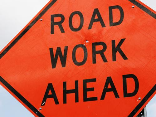 Road Work Ahead sign copy